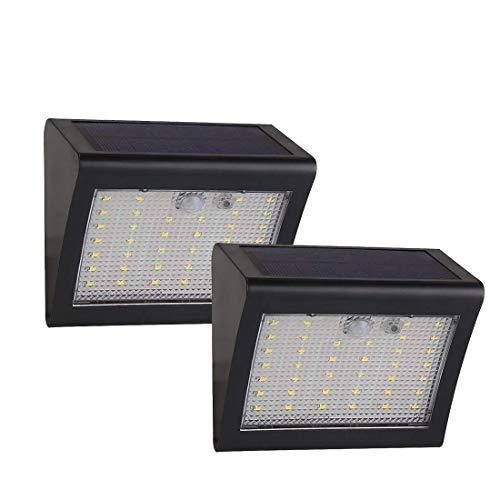 Paracity 38 LED 500 lumens détecteur de mouvement éclairages de sécurité étanche Alimenté par énergie solaire 3 modes de Smart 1500 mAh pour Pato, clôture, jardin, allée, Sable, mur, escaliers, 2pcs