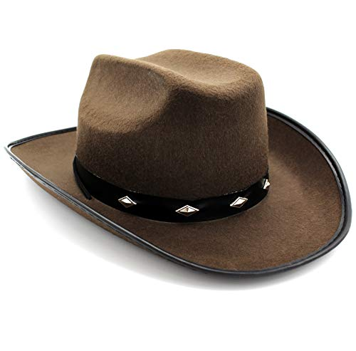 Mamvio Cowboy Hat Costume Dress-Up - Western Accessory Role-Play - Studded Fedora Brown