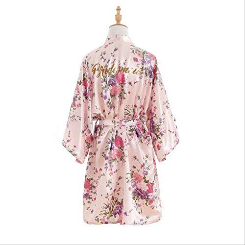 XFLOWR Zijde Kersenbloesems Bronzen Poeder Bruidsmeisje Draag Simulatie Zijde Korte Kimono Ochtend Jurk Make-up Robe Slaapmode Nachtkleding