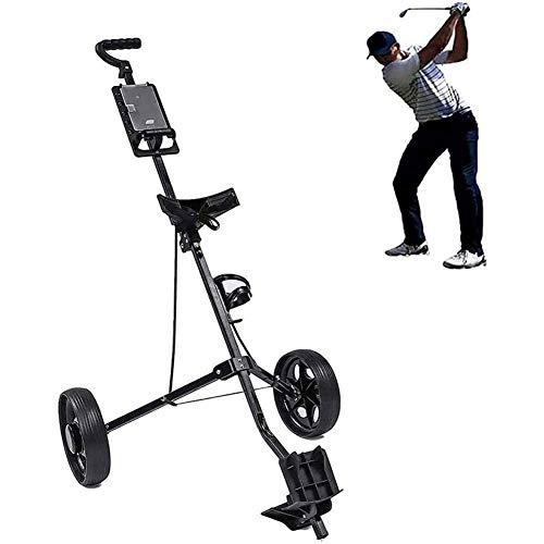 LSF Carrito de golf plegable con 2 ruedas con mango ajustable en ángulo y freno de pie, carrito de golf ligero