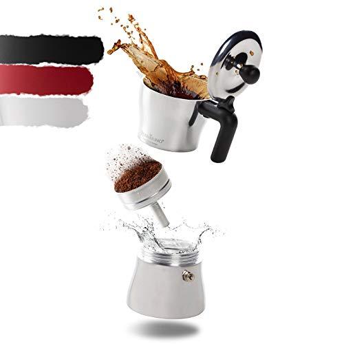 ROSMARINO Espressokocher für Induktion und alle Herdarten - Espresso Maker für authentischen italienischen Kaffee - 3 Tassen Espressokanne I Metallic