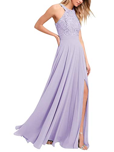 Halter Slit Chiffon Bridesmaid Dresses Lace Long A Line Prom Formal Gowns for Women Lavender Size 6