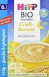 Hipp Bio-Milchbreie ohne Zuckerzusatz-Vorratspackung, ab 6. Monat, Gute-Nacht-Brei Grieß Banane, 4er Pack (4 x 450 g)