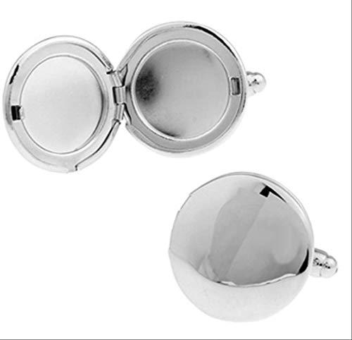 XKSWZD Manschettenknöpfe Fotorahmen-Manschettenknöpfe Silberfarbenes Kupfermaterial Einzigartiger, runder Fotohalter