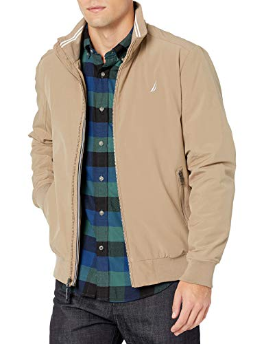 Nautica Men's Poly Stretch Bomber, Taupe, Medium