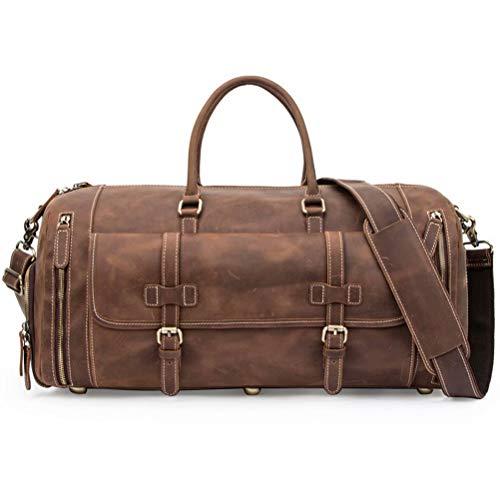Travel Bag Men's Travel Duffel Bag Italian Crazy Horse Cowhide Leather Men's Travel Bag Shoulder Handbag Round Bucket Messenger Bag Handbag Portable Travel Satchel