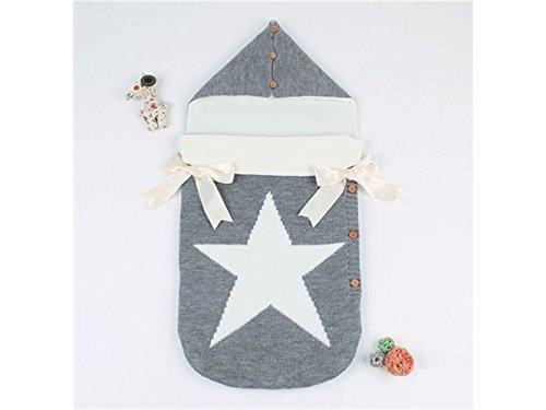 Bébé Cadeau doux pour nouveau-né Toddler pentagramme Motif sac de couchage à tricoter Sleepsacks pour 0–6 mois (Gris)