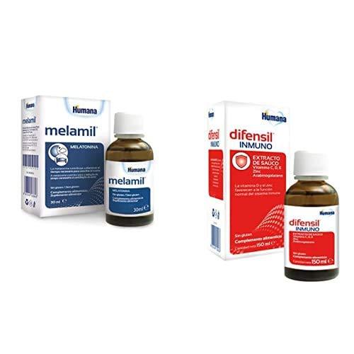 Humana MELAMIL con Melatonina al 99% para conciliar el sueño 30 g + Humana DIFENSIL INMUNO, con vitamina C, D, Zinc, probióticos, para las defensas del sistema inmunitario. Para niños y adultos 150 ml