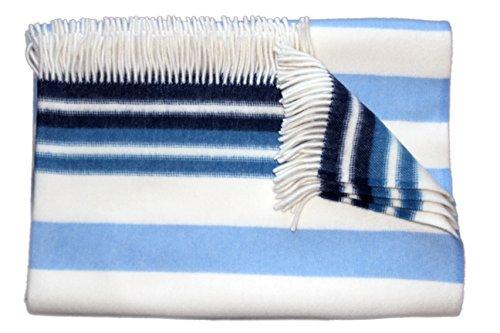"""Die Woll-Friesen Flauschige Wolldecke/Wohndecke/Kuscheldecke/Plaid """"Blavand"""", blau gestreift, aus 100% feiner Schurwolle, unterschiedlichen Farben mit Streifen"""