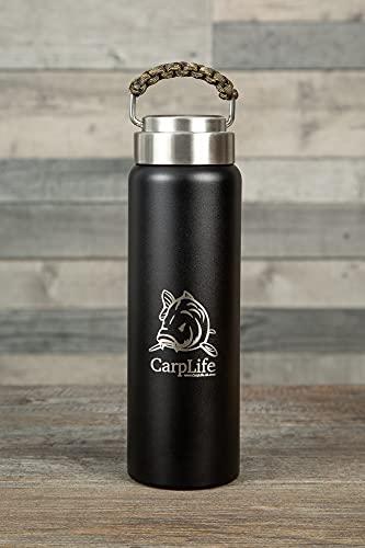 CarpLife - Fiaschetta termica con finitura a mano per la pesca, capacità 600 ml, doppia parete in acciaio inox, manico in paracord color mimetico