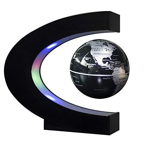 SUTIANZHANG Tischlampe Schwebender Globus mit LED-Leuchten C-Form Magnetic Levitation Schwebender Globus Weltkarte für Tischdekoration (blau),Schwarz