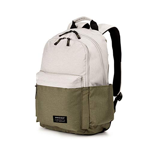 Swiss Gear Polyester 15' Laptop Backpack with Front Zip Pocket for Additional Space - (Ivory/Olive)