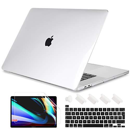 Batianda Coque pour MacBook Pro 13 Pouces 2020, Rigide Étui avec Housse de Clavier Protecteur d'écran pour Neuf MacBook Pro 13 Touch Bar (Modèle: A2338 M1 A2289 A2251) - Transparent