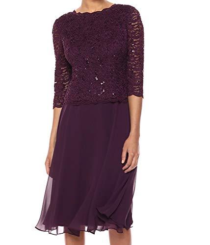 Alex Evenings Damen Tea Length Sequin Mock Dress (Petite and Regular) Kleid fr besondere Anlsse, Deep Plum, 42