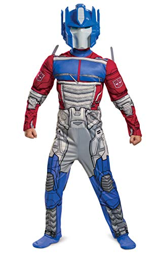 Optimus Prime Costume, Muscle Transformer Costumes for Boys, Padded Character Jumpsuit, Kids Size Small (4-6)