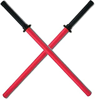 Set of 2 Red Padded Sparring Bokken Foam Sword Practice Blade