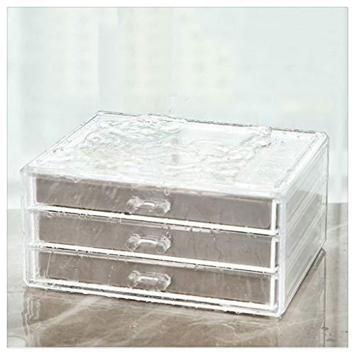 Yousiju Caja Transparente, Anillo, Soporte para Pendientes, Pendientes, Collar, Caja de Maquillaje, tocador Tipo cajón, Caja de Acabado