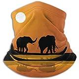 Linger In Calentador de Cuello Elefantes africanos al Atardecer Africana Vector Bufanda, una máscara Facial Completa o Sombrero, Polaina de Cuello, Gorra de Cuello máscara de esquí