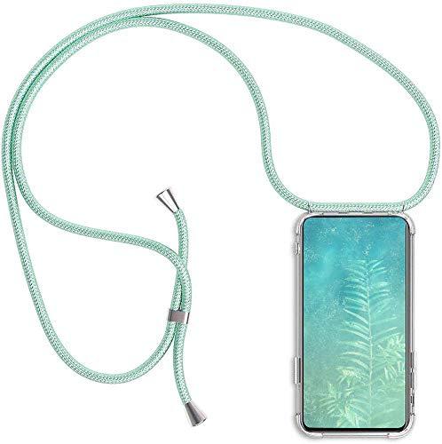 CHIMUCO Funda para Xiaomi Redmi Note 10 Pro 4G (6.67'') con Cuerda, Carcasa Transparente TPU Suave Silicona Case con Correa Colgante Ajustable Collar Correa de Cuello Cadena Cordón Case, Verde