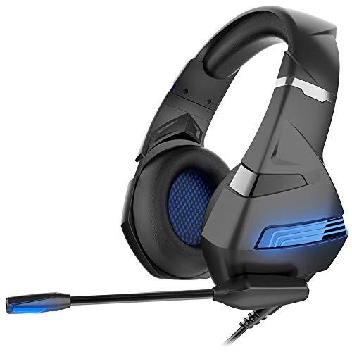 PTHZ Auriculares con Cable, Auriculares de Juegos con micrófonos, Luces LED y Sonido Envolvente 7.1, Las Auriculares Son adecuadas para computadoras portátiles y teléfonos móviles,Azul