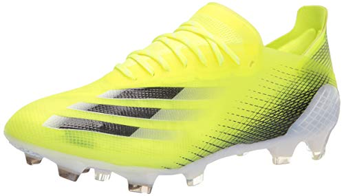 adidas Men's X Ghosted.1 Firm Ground Soccer Shoe, Solar Yellow/Black/Team Royal Blue, 4