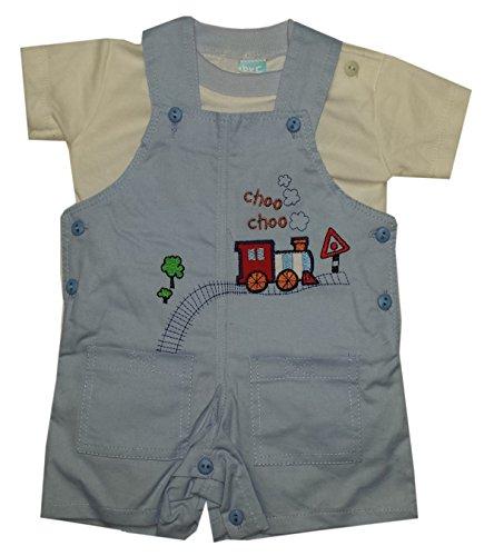 Baby C Enfants 2 Piece Choo Choo Imprimer Mois Light Blue Salopette Top Set Age 0-3
