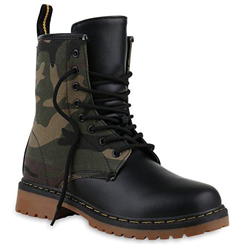 Derbe Damen Stiefeletten Worker Boots Profilsohle Camouflage Stiefel Schnür Animal Print Schuhe 128622 Camouflage Grün 40 Flandell