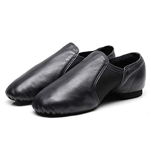 Zapatos de Baile de Cuero Suave con Suela Dividida para Mujeres y Hombres y niñas, Color Negro, Talla 44 EU