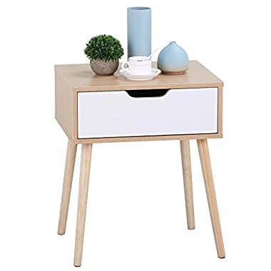 Yaheetech White/Brown Walnut Side End Table Nightstand with Storage Drawer Solid Wood Legs Living Room Furniture