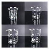 HXF Hxfang 1 Set (100 ml, 200 ml, 500 ml, 1000ml) Borosilicato Vidrio de Vidrio Cubo de Vidrio Química Experimento Resistencia al Calor Labra de Laboratorio Equipo de Laboratorio (Capacity : 1 Set)
