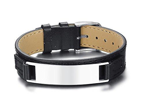 VNOX Hombres Acero Inoxidable Personalizado Cinturón de Cuero Genuino Corchete de Cadena Pulsera Ajustable Nombre Fecha Cita Grabado Personalizado