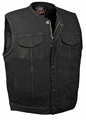 Men's Collarless Denim Club Style Vest w/Hidden Zipper (Black, 2X) by