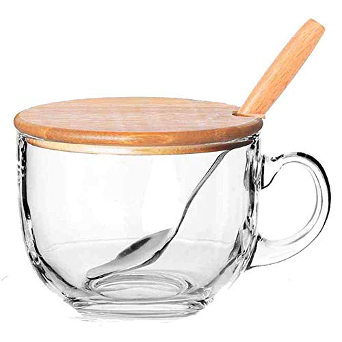 Conjunto de microondas Que Van, con Tapa de Madera, Incluye una Cuchara con Mango de Madera, una Taza de café de Vidrio y una Taza de té, 480 ml de Bebidas, Cereales o Sopa,A