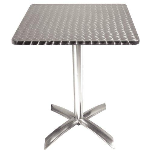 Bolero vierkante tafel met inklapbaar tafelblad, roestvrij staal, 720 x 600 x 600 mm, voor restaurant, bar, café