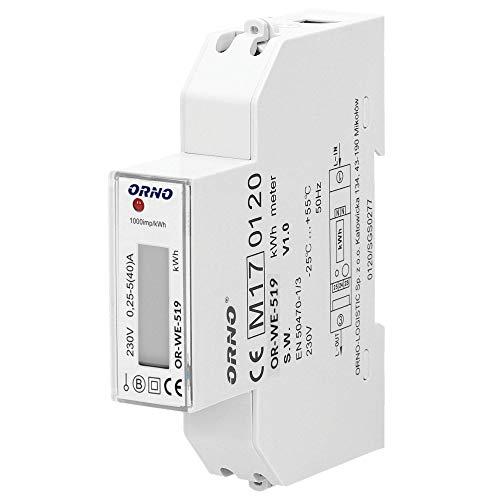 Orno WE-519 LCD Digitaler Wechselstromzähler, 1-Phasen-Anzeige des Stromverbrauchs mit MID Zertifikat, 40A Power Meter Strommesser Verbrauchsmessgerät (ohne Hintergrundbeleuchtung)