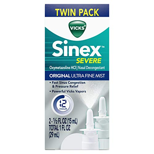 Vicks Sinex SEVERE Original Ultra Fine Mist Sinus Nasal Spray Decongestant for Fast Relief of Cold and Allergy Congestion, Twin Pack, 2 x 0.5 FL OZ,