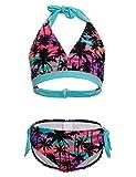 DUSISHIDAN Mädchen Schwimmanzug, Süß Bandage Bikinis Kinder Mädchen Zweiteiliger Palme 152-164 L(12-14)