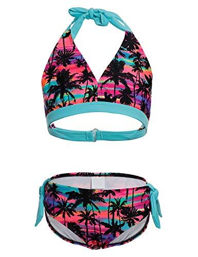 DUSISHIDAN Mädchen Schwimmanzug Zweiteiliger Neckholder Bademode, Bikini Set Mädchen Palme164-176 XL(16)