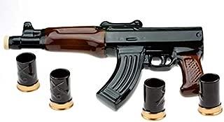 big ceramic bottle-shtof kalashnikov rifle ak-47 souvenir decanter for whiskey vodka brandy wine 1L wit h 4 wineglasses