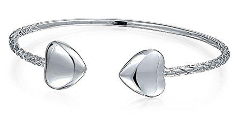 Herzen Tipps Stapelbar West Indische Armreifen Twisted-Pair Kabel Armband Für Damen Ans Handgelenk Sterling Silber
