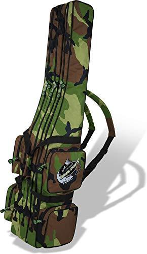 Rutentasche Rod Case Angelkoffer Futteral mit 3 Ruten-Fächern, Verschiedene Längen wählbar - stark wasserabweisender Fishing Rucksack Farbe Woodland 3 Innenfächer Größe 210 cm