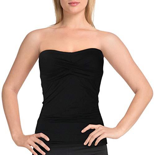 Anne Cole Women's Solid Twist Front Shirred Bandeau Tankini Swim Top, Black I, Large