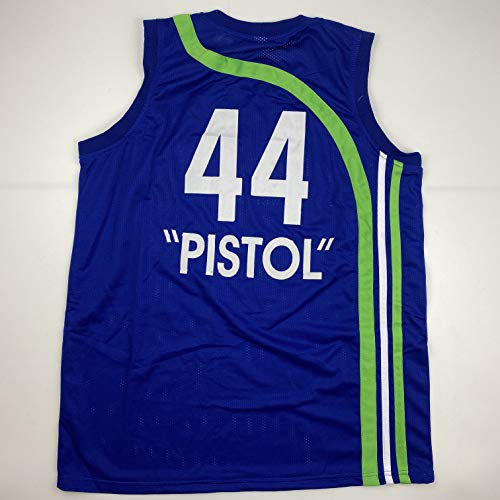Unsigned Pistol Pete Maravich Atlanta Blue Custom Stitched Basketball Jersey Size Men's XL New No Brands/Logos