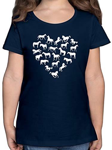 Tiermotive Kind - Pferdeherz - 140 (9/11 Jahre) - Dunkelblau - Kinder Pferde Tshirt für mädchen - F131K - Mädchen Kinder T-Shirt