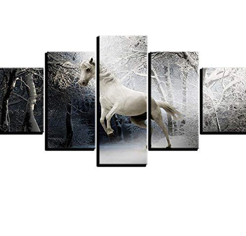 PrintWUHUA Cuadros para Dormitorios Modernos Animal De Caballo En El Bosque Cuadros Decoracion Salon Modernos 5 Partes
