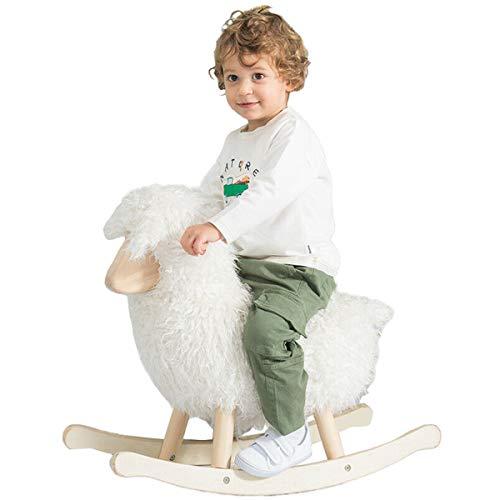 JOLIE VALLÉE TOYS & HOME White Lamb Baby Rocking Horse, Wooden Plush Rocker Toy for 1-3 Years Kids Birthday Gift (White)