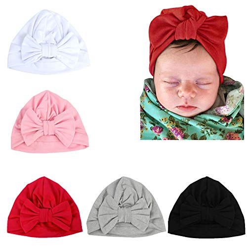 LERTREE 5 Pack Baby Solid Knot Hats Baby Girls Toddler Turban Bow Cap Infant Head Cap