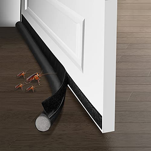 Burlete para puerta, burlete de puerta, aislante adhesivo para puertas y aislante de vehículos, aislamiento de la puerta, antiinsectos, antipolvo, ahorro de energía y calefacción (negro)