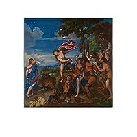 Titianティツィアーノバッカスとアリアドネ ウォールアートポスターギフト寝室プリント家の装飾ぶら下げ絵キャンバス絵画ポスター24×24inch(60×60cm)