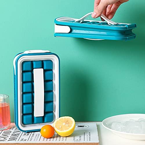 Bandeja de cubo de Cubo, 2 en 1 Bandeja para fabricantes de bolas de hielo de silicona portátil, Caja de hielo de almacenamiento de hervidor plegable, cocina doméstica Bebida congelada Bolsa de hielo